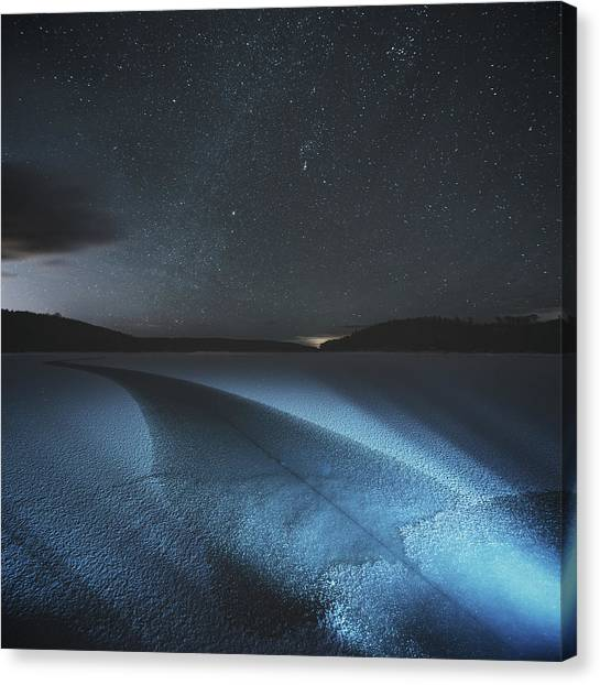 Fracture In Winter Lake Canvas Print by Shaunl