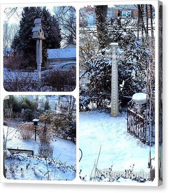 Snow Canvas Print - @framaticapp, #framatic #snow #garden by Teresa Mucha