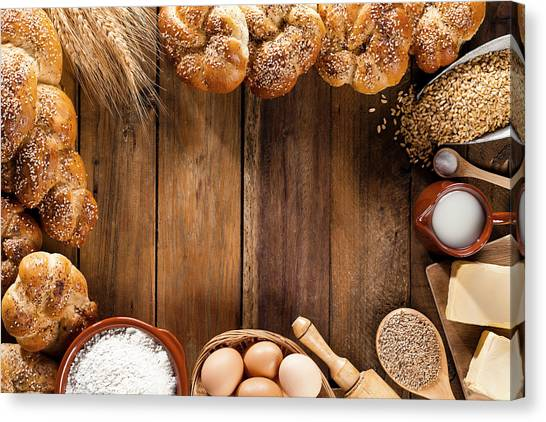 Frame Of Ingredients For Bread Canvas Print by Fcafotodigital