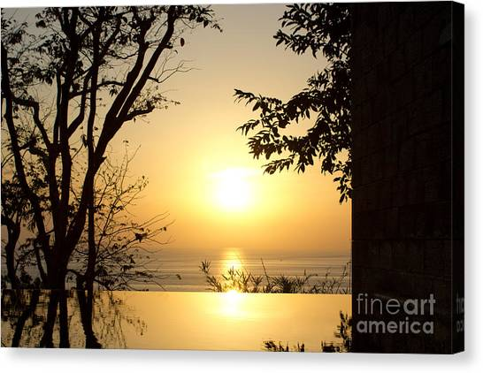 Framed Golden Sunset Canvas Print