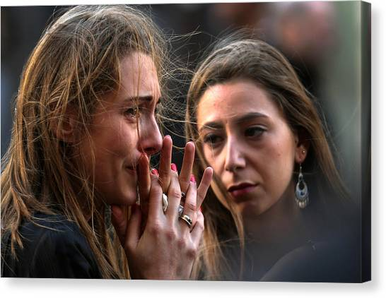 France Honours Attack Victims As The Nation Mourns Canvas Print by Christopher Furlong
