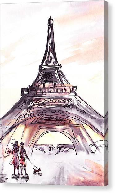 Dog Walking Canvas Print - France Sketches Walking To The Eiffel Tower by Irina Sztukowski