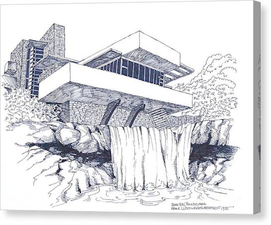 Frank Lloyd Wright Falling Water Architecture Canvas Print