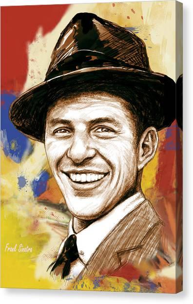Frank Sinatra Canvas Print - Frank Sinatra - Stylised Pop Art Drawing Portrait Poster  by Kim Wang