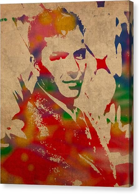Bands Canvas Print - Frank Sinatra Watercolor Portrait On Worn Distressed Canvas by Design Turnpike