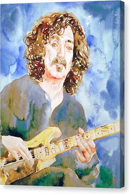 Frank Zappa Canvas Print - Frank Zappa Playing The Guitar Watercolor Portrait by Fabrizio Cassetta