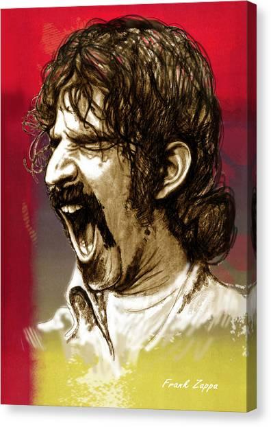 Frank Zappa Canvas Print - Frank Zappa Stylised Pop Art Drawing Potrait Poser by Kim Wang