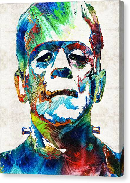 Canvas Print featuring the painting Frankenstein Art - Colorful Monster - By Sharon Cummings by Sharon Cummings