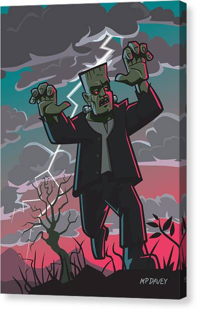 Frankenstein Creature In Storm  Canvas Print