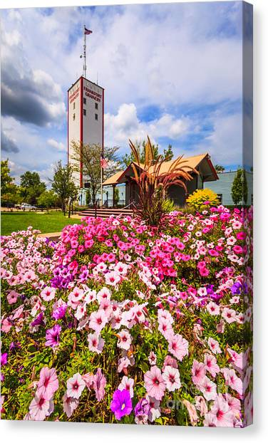 Burton Canvas Print - Frankfort Grainery And Flowers In Frankfort Illinois by Paul Velgos