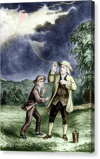 Philidelphia Canvas Print - Franklin's Lightning Experiment by Us Department Of Energy