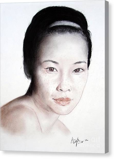 Lucy Liu Canvas Print - Freckle Faced Asian Beauty by Jim Fitzpatrick