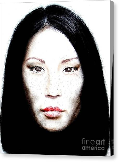 Lucy Liu Canvas Print - Freckle Faced Beauty Lucy Liu  II by Jim Fitzpatrick