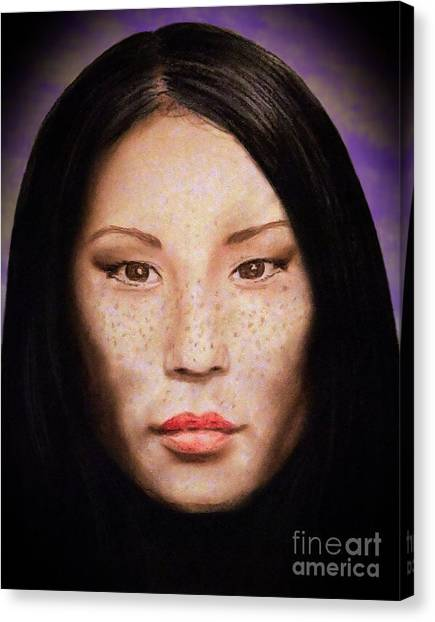 Lucy Liu Canvas Print - Freckle Faced Beauty Lucy Liu  IIi Altered Version by Jim Fitzpatrick