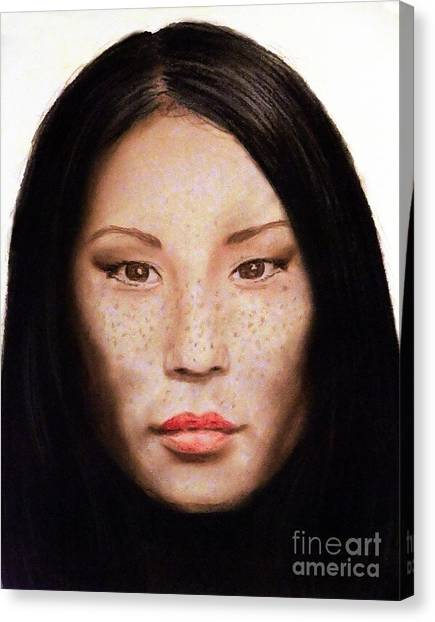 Lucy Liu Canvas Print - Freckle Faced Beauty Lucy Liu  IIi by Jim Fitzpatrick