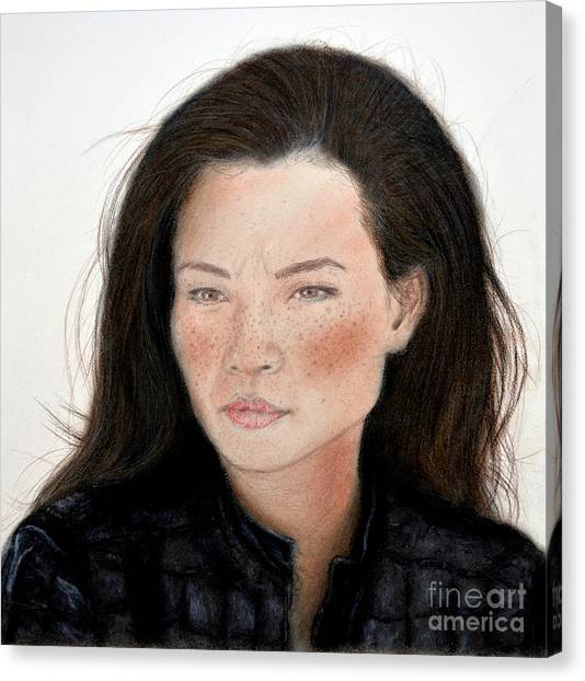 Lucy Liu Canvas Print - Freckle Faced Beauty Lucy Liu Remake by Jim Fitzpatrick