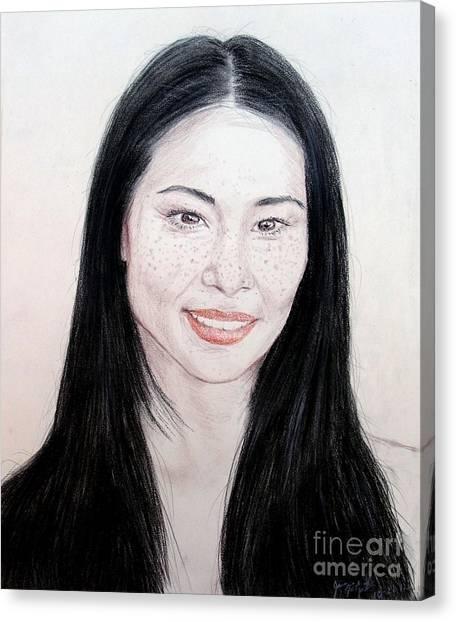 Lucy Liu Canvas Print - Freckled Beauty Lucy Liu by Jim Fitzpatrick