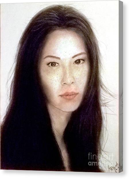 Lucy Liu Canvas Print - Freckled Faced Beauty Lucy Liu  by Jim Fitzpatrick