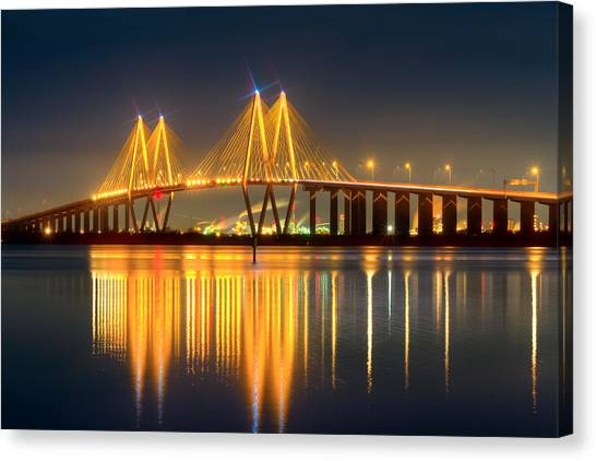 Fred Hartman Bridge At Night Canvas Print