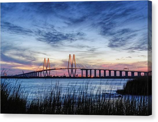 Fred Hartman Bridge At Twilight Hour Canvas Print