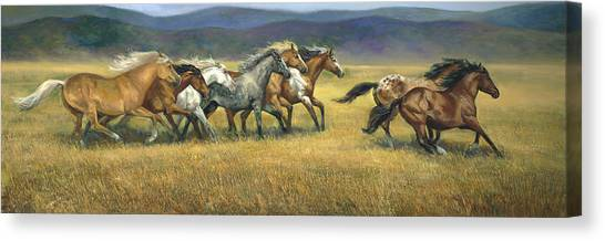 Bay Horse Canvas Print - Free And Wild by Laurie Hein