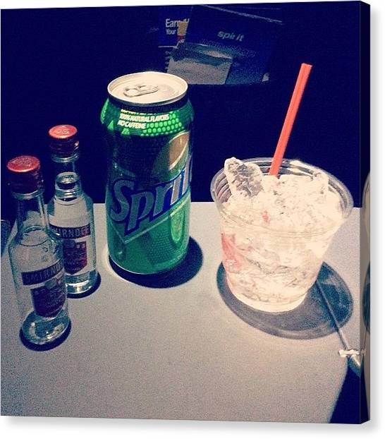 Sprite Canvas Print - Free Drinks From #spiritairlines Flight by Chuck Oliva