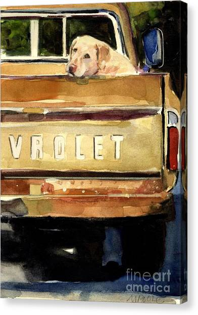 Yellow Lab Canvas Print - Free Ride by Molly Poole