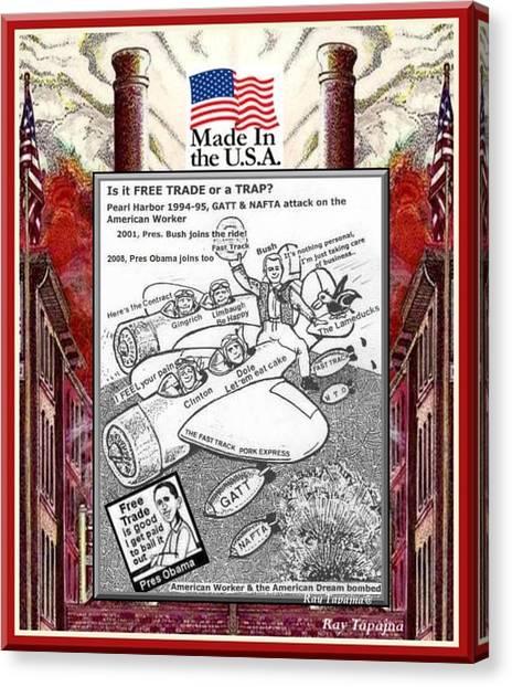 Free Trade Trap Canvas Print by Ray Tapajna