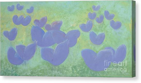 Free Your Hearts Green Lilac Abstract By Chakramoon Canvas Print by Belinda Capol