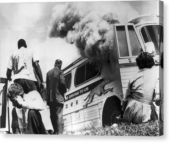 Racism Canvas Print - Freedom Riders Bus Burned by Underwood Archives