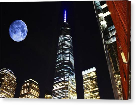 Freedom Tower And Blue Moon Canvas Print