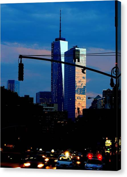 Freedom Tower New York Ny At Dusk Canvas Print by Ron Bartels