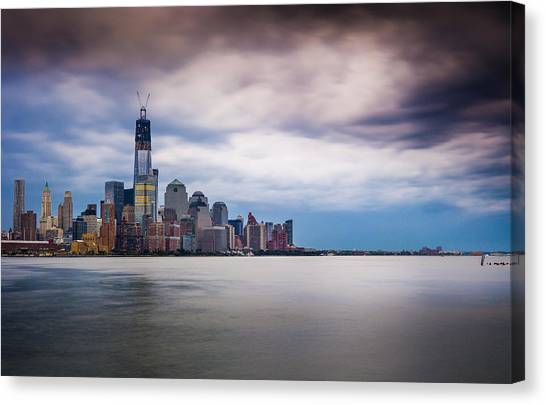 Freedom Tower Over The Hudson Canvas Print by Chris Halford