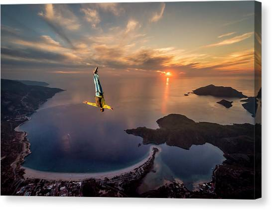 Skydiving Canvas Print - Freefalling With Guillaume Galvani by Tristan Shu
