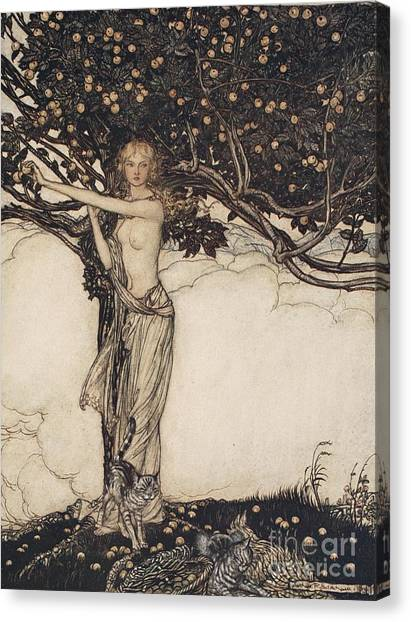 Keeper Canvas Print - Freia The Fair One Illustration From The Rhinegold And The Valkyrie by Arthur Rackham