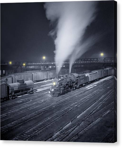 Freight Trains Canvas Print - Freight Train About To Leave The Atchison Circa 1943 by Aged Pixel