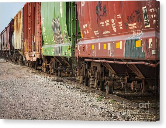 Canvas Print featuring the photograph Freight Train Cars On Tracks by Bryan Mullennix