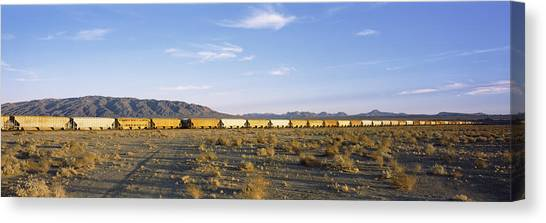 Freight Trains Canvas Print - Freight Train In A Desert, Trona, San by Panoramic Images