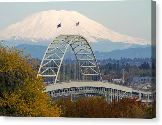 Fremont Bridge And Mount Saint Helens Canvas Print