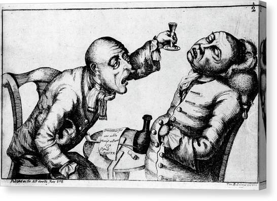 French 18th Century Engraving Of Two Alcoholics Canvas Print by National Library Of Medicine/science Photo Library