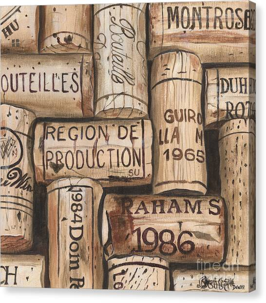Red Wine Canvas Print - French Corks by Debbie DeWitt