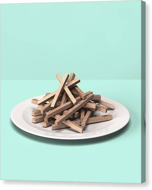 French Fries Made Out Of Wooden Block Canvas Print