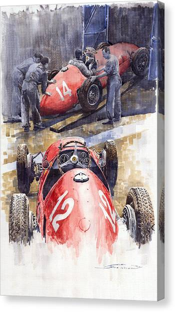 Ferrari Canvas Print - French Gp 1952 Ferrari 500 F2 by Yuriy Shevchuk