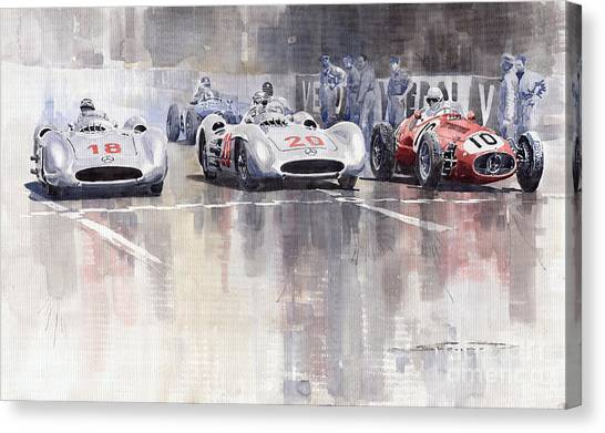 Racing Canvas Print - French Gp 1954 Mb W 196 Meserati 250 F by Yuriy Shevchuk