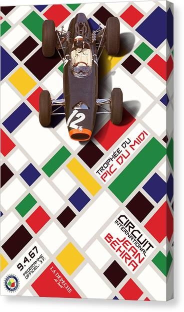Classic Car Drawings Canvas Print - French Grand Prix 1967 Circuit Jean Behra by Georgia Fowler