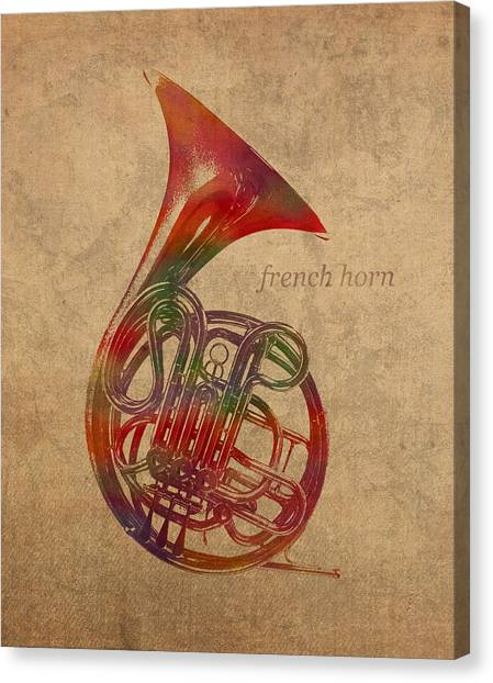 Brass Instruments Canvas Print - French Horn Brass Instrument Watercolor Portrait On Worn Canvas by Design Turnpike