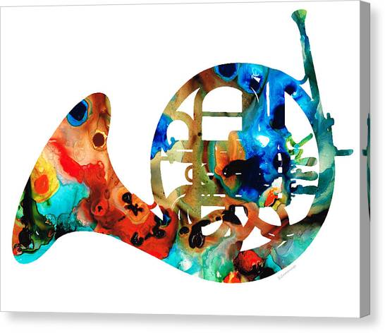 Music Canvas Print - French Horn - Colorful Music By Sharon Cummings by Sharon Cummings