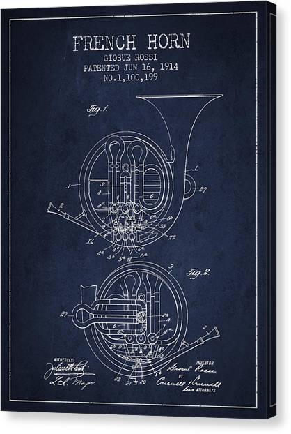 Brass Instruments Canvas Print - French Horn Patent From 1914 - Blue by Aged Pixel