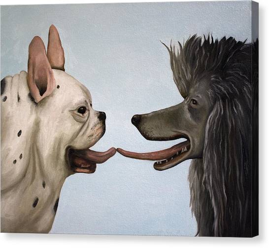 French Bull Dogs Canvas Print - French Kiss by Leah Saulnier The Painting Maniac