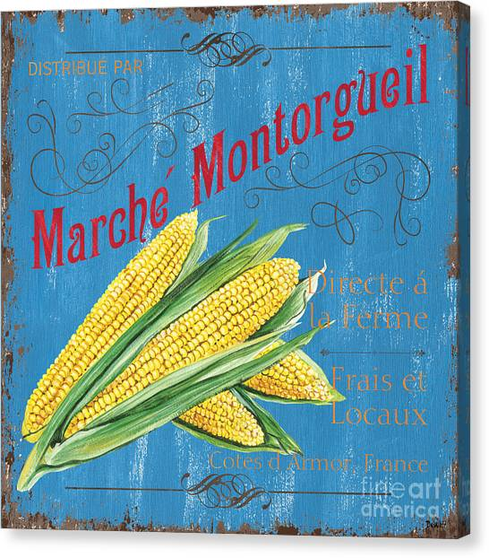 Vegetarian Canvas Print - French Market Sign 2 by Debbie DeWitt